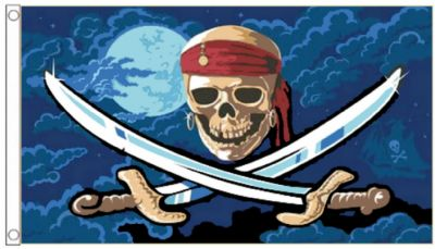 Pirate Skull Moonlight Cross Sabres 5'x3' Flag